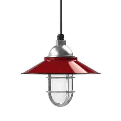"""12"""" Syracuse, 455-Porcelain Cherry Red, TGG-Heavy Duty Cast Guard, 975-Galvanized, FST-Frosted Glass, SBK-Standard Black Cord"""