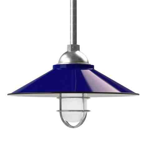 """16"""" Syracuse, 750-Porcelain Cobalt Blue, CGG-Standard Cast Guard, 975-Galvanized, FST-Frosted Glass, Mounting in 975-Galvanized"""
