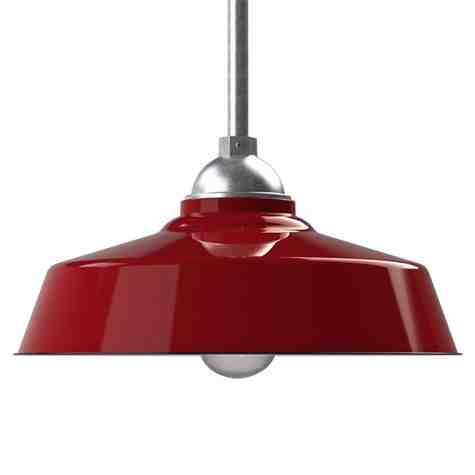 """18"""" Rochester, 455-Porcelain Cherry Red, No Guard, SMK-Smoke Crackle Glass, Mounting in 975-Galvanized"""