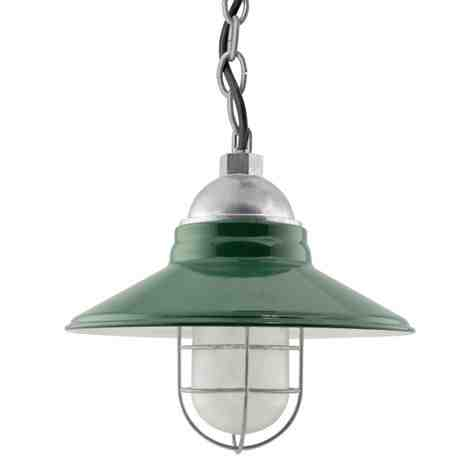 """12"""" Cleveland, 350-Porcelain Vintage Green, WGG-Wire Guard, 975-Galvanized, CCR-Clear Crackle Glass, Mounting in 975-Galvanized, SBK-Standard Black Cord"""