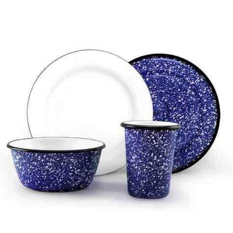 Set of 4 Enamel Breakfast Set, 760-Cobalt Blue with White Speckles
