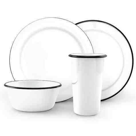 Set of 4 Enamel Dinnerware Set, 250-White