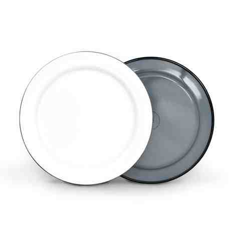 """12"""" Enamelware Plate, 850-Graphite with White Top"""