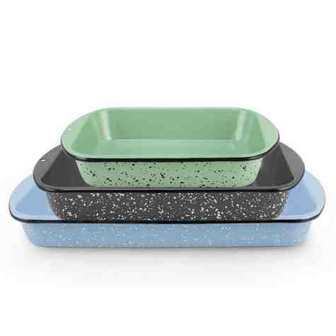 Set of 3 Graniteware Baking Pans   2-Quart: 365-Jadite with Black Speckle, 3-Quart: 860-Graphite with White Speckle, 4-Quart: 766-Delphite with White Speckle