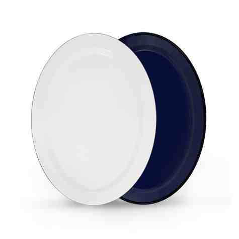 Oval Enamelware Platter, 750-Cobalt with 250-White Top