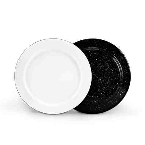 Enamelware Breakfast Plate, 160-Black with White Speckles, White Top