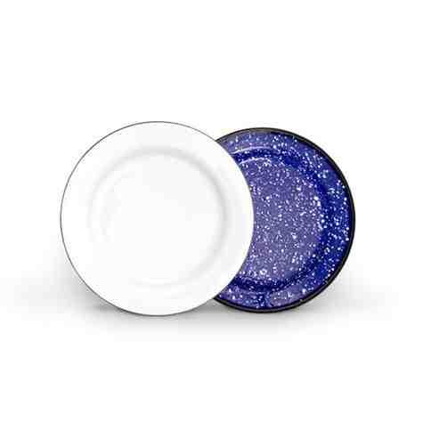 Enamelware Dessert Plate, Bottom Finish: 760-Cobalt Blue with White Speckles, Top Finish: 250-White