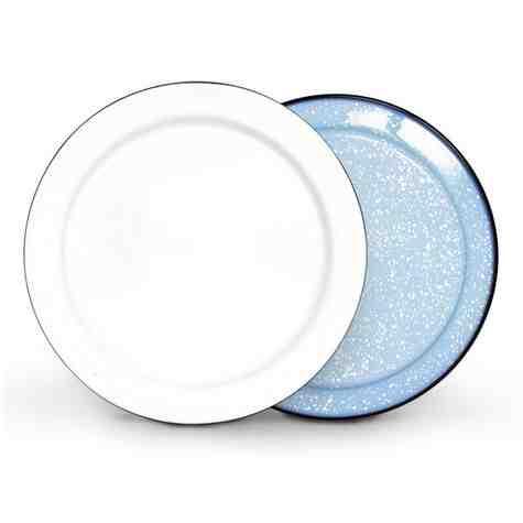 Round Enamelware Platter, 766-Delphite with White Speckles, White Top