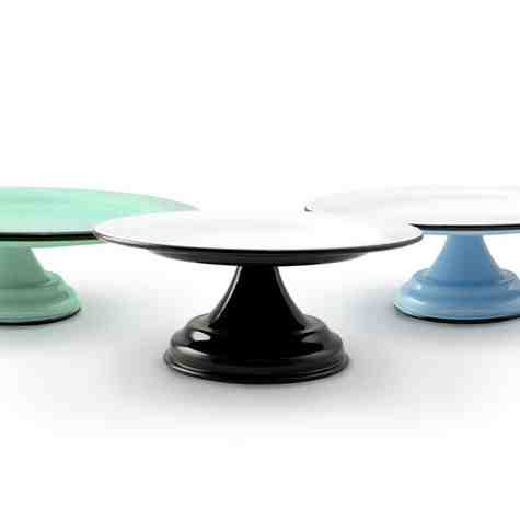 Set of 3 Enamelware Cake Stands, From Left: Jadite, Black with White Top, Delphite with White Top