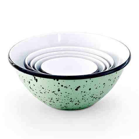 Enamel Graniteware Nesting Bowls, 365-Jadite with Black