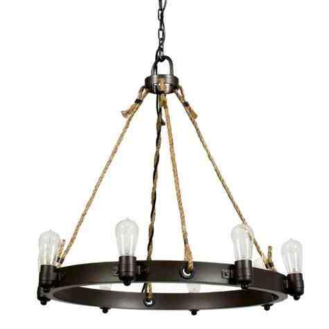 Maven Rope Chandelier, 600-Bronze, Brown Jute Rope, Standard Black Cord, Shown with Nostalgic Edison-Style 1890 Era 40 Watt Light Bulbs