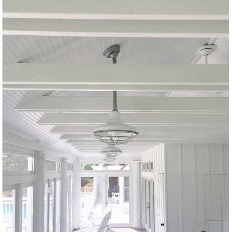 "Hang Straight Canopy (Displayed Here: 14"" Union Porcelain Stem Mount Lights in 250-White Finish, 18"" Stems in 975-Galvanized and Hang Straight Canopy)"