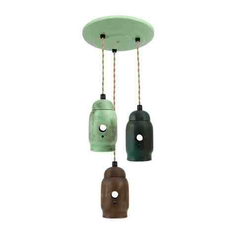 Mig Multi-Light Pendant, 376-Jadite, 675-Brown, 375-Dark Green, Canopy in 311-Jadite, TPT-Putty Cotton Twist Cord