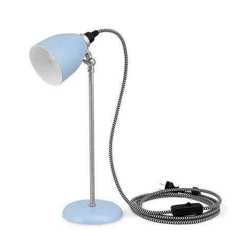 Lovell Task Lamp, 765-Porcelain Delphite Blue, Stem in 975-Galvanized, CSBW-Black & White Cloth Cord, Black Plug & Switch