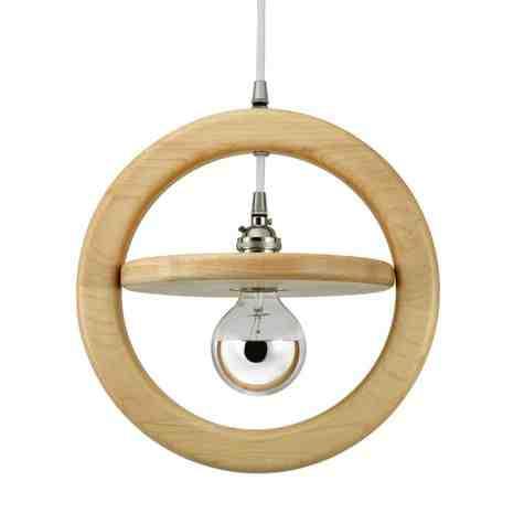 Arcadia Wooden Ring Pendant, Maple Wood, Nickel Socket, SBK-Standard Black Cord, Shown with G25 Half-Chrome Bulb