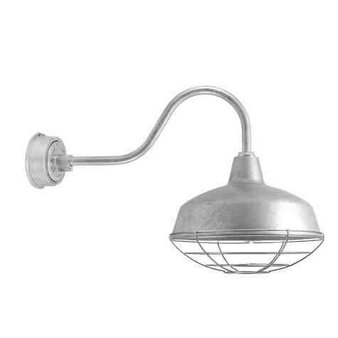 "16"" Avalon LED, 975-Galvanized, Wire Cage, G22 Gooseneck Arm"