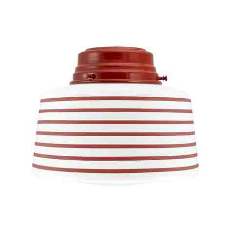 Drum Flush Mount Light, 400-Barn Red, Opaque Glass, Seven Painted Band, 400-Barn Red