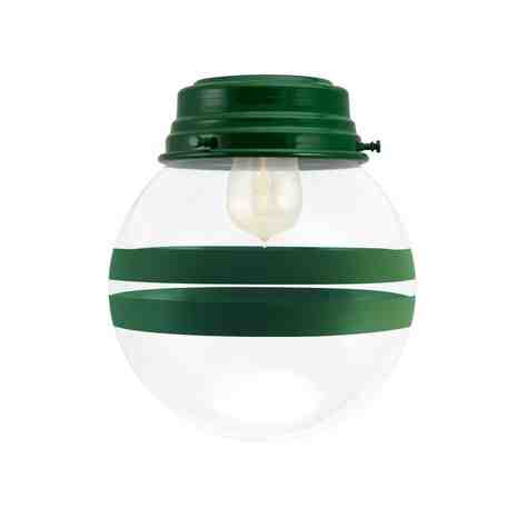 Round Flush Mount, 307-Emerald Green, Clear Glass, Two Painted Band, 307-Emerald Green, Shown with 1890 Edison-Style Bulb