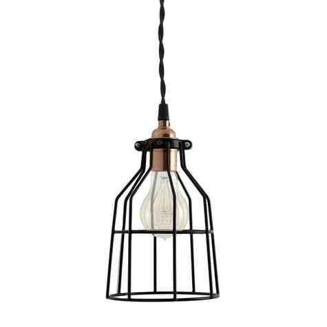 Minimalist Copper Cage Pendant with Wire Cage, Nostalgic Edison-Style Victorian Bulb, TBK-Black Cotton Twist Cord