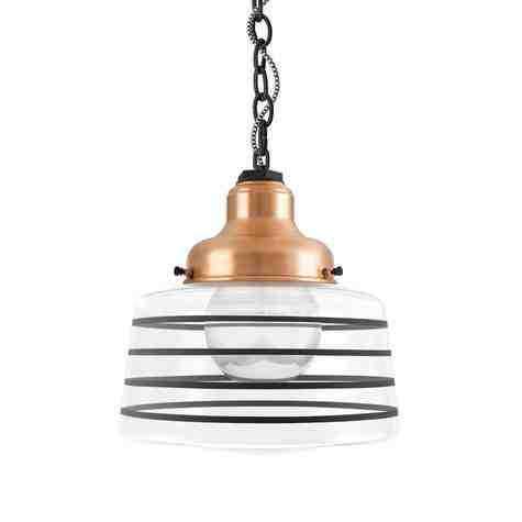 Drum Chain Hung, 995-Natural Raw Copper, Clear Glass, Four Painted Band, 100-Black, Mounting in 100-Black, CSBW-Black & White Cloth Cord, Show with G40 Half-Chrome Bulb