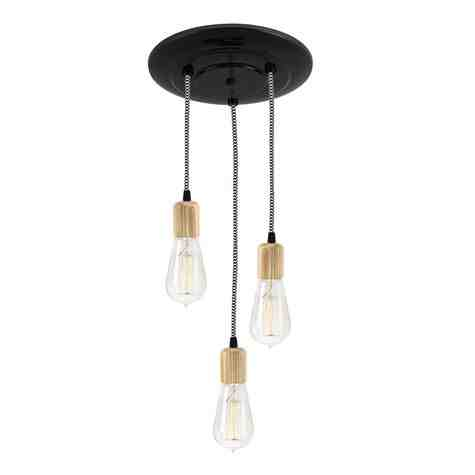 Downtown Minimalist Wooden Socket 3-Light Pendant, 100-Black, Ash Wood, CSBW-Black & White Cloth Cord, Shown with Edison 1910 Era Bulbs