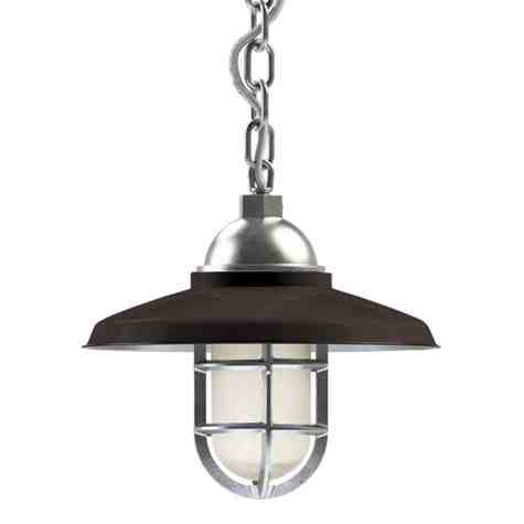 """12"""" Bridgeport LED, 650-Porcelain Bronze, TGG-Heavy Duty Cast Guard, 975-Galvanized, CCR-Clear Crackle Glass, Mounting in 975-Galvanized, SWH-Standard White Cord"""