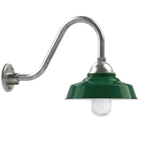"12"" Rochester LED, 350-Porcelain Vintage Green, No Guard, RIB-Ribbed Glass, G15 Gooseneck Arm, 975-Galvanized"
