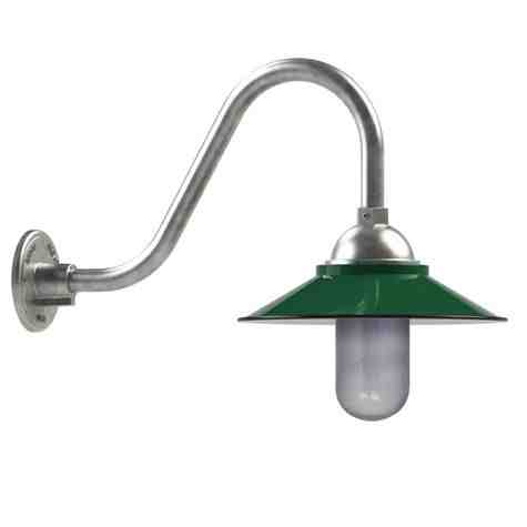 "14"" Syracuse LED, 350-Porcelain Vintage Green, G15 Gooseneck Arm, 975-Galvanized"