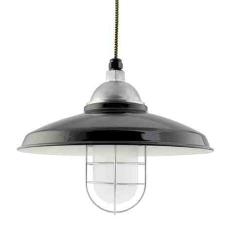 """14"""" Bridgeport LED, 150-Porcelain Black, WGG-Wire Guard, FST-Frosted Glass, CSBW-Black & Gold Cloth Cord"""