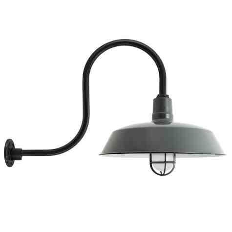 "20"" The Original™ Nautical LED Gooseneck, 850-Porcelain Graphite, CGG-Standard Cast Guard, 150-Black, FST-Frosted Glass, G32 Gooseneck Arm, 150-Black"