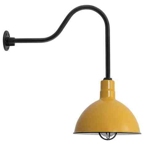 "14"" Wilcox Nautical LED, 550-Porcelain Yellow, CGG-Standard Cast Guard, 150-Black, RIB-Ribbed Glass, G24 Gooseneck Arm, 150-Black"