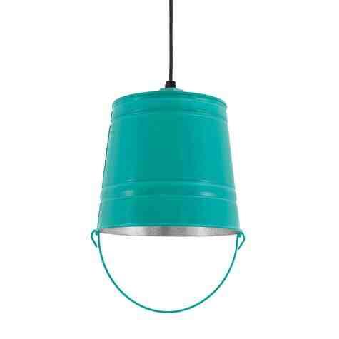 Bucket Pendant Light, 390-Teal, CSB-Black Cloth Cord