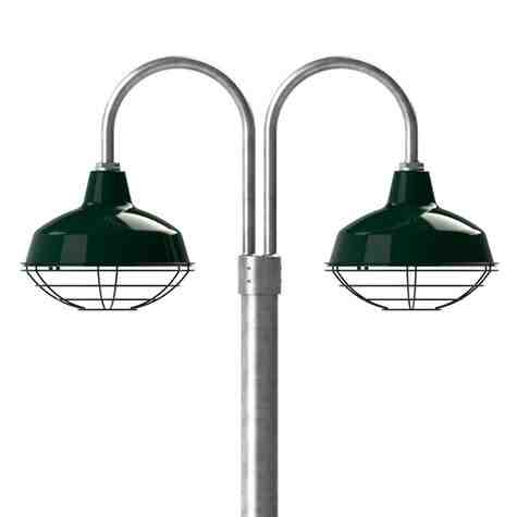 """14"""" Avalon LED, 350-Porcelain Vintage Green, Wire Cage, 310-Vintage Green, Double Post Mount, 975-Galvanized, Smooth Direct Burial Pole, 975-Galvanized"""