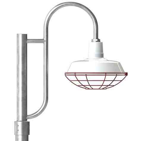 """16"""" The Original™ LED, 250-Porcelain White, Wire Cage, 411-Cherry Red, Single Decorative Post Mount, 975-Galvanized, Smooth Direct Burial Pole, 975-Galvanized"""