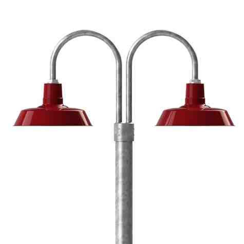 "14"" The Original™ LED, 455-Porcelain Cherry Red, Double Post Mount, 975-Galvanized, Smooth Direct Burial Pole, 975-Galvanized"