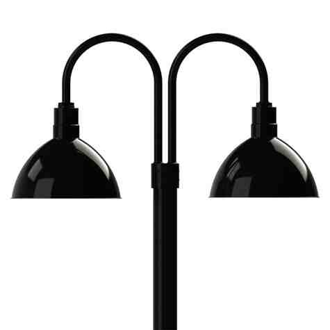 """14"""" Wilcox LED, 100-Black, Double Post Mount, 100-Black, Smooth Direct Burial Pole, 100-Black"""