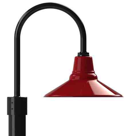 """14"""" Aero LED, 455-Porcelain Cherry Red, Single Post Mount, 100-Black, Smooth Direct Burial Pole, 100-Black"""