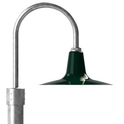 """14"""" Sterling LED, 350-Porcelain Vintage Green, Single Post Mount, 975-Galvanized, Smooth Direct Burial Pole, 975-Galvanized"""