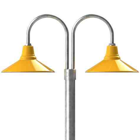"16"" Aero LED, 550-Porcelain Yellow, Double Post Mount, 975-Galvanized, Smooth Direct Burial Pole, 975-Galvanized"