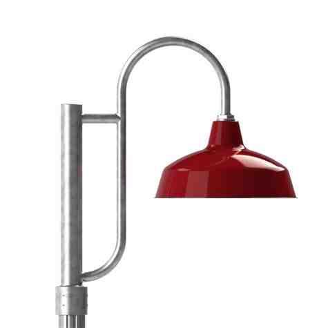 "14"" Avalon LED, 455-Porcelain Cherry Red, Single Decorative Post Mount, 975-Galvanized, Smooth Direct Burial Pole, 975-Galvanized"