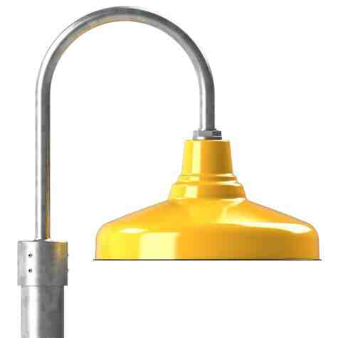 "16"" Union LED, 550-Porcelain Yellow, Single Post Mount, 975-Galvanized, Smooth Direct Burial Pole, 975-Galvanized"