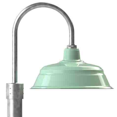 """17"""" Bomber LED, 355-Porcelain Jadite, Single Post Mount Option in 975-Galvanized, Smooth Direct Burial Pole in 975-Galvanized"""