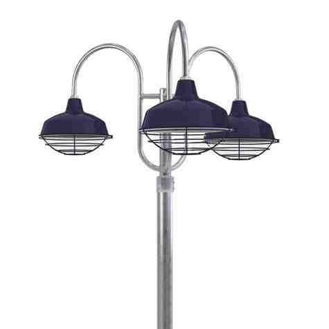 """14"""" Avalon LED, 705-Navy, Wire Cage, Decorative 3 Light Post Mount, 975-Galvanized, Smooth Direct Burial Pole, 975-Galvanized"""