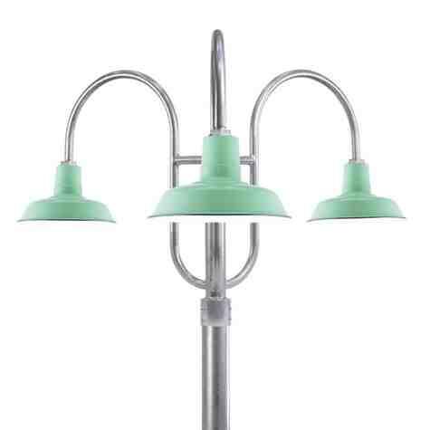 "14"" The Original™ LED, 355-Porcelain Jadite, 3-Light Post Mount, 975-Galvanized, Smooth Direct Burial Pole, 975-Galvanized"