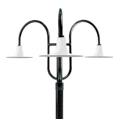"""16"""" Sterling LED, 250-Porcelain White, 3-Light Post Mount, 100-Black, Smooth Direct Burial Pole, 100-Black"""