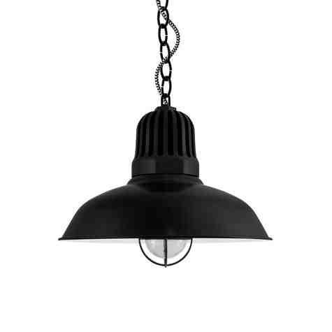 """16"""" Gridiron, 100-Black, Heat Sink in 100-Black, Chain in 100-Black, CSBW-Black & White Cloth Cord, WGG-Wire Guard in 100-Black"""