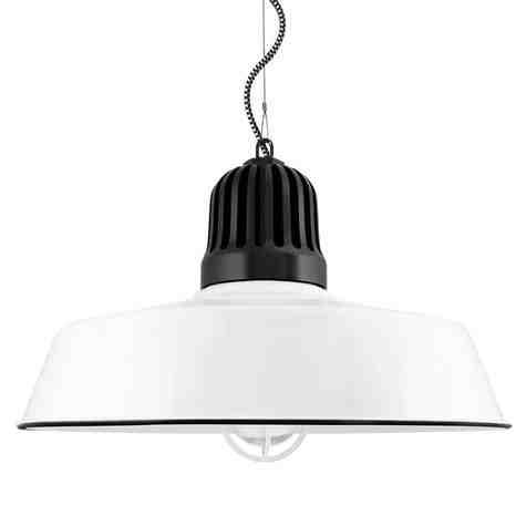 "20"" Scrimmage, 250-Porcelain White, Heat Sink in 150-Black, CSBW-Black & White Cloth Cord, CGG-Standard Cast Guard in 250-White, RIB-Ribbed Glass"