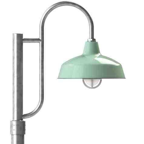 "12"" Avalon LED, 355-Porcelain Jadite, Single Decorative Post Mount, 975-Galvanized, Fluted Direct Burial Pole, 975-Galvanized, Smooth Direct Burial Pole, 975-Galvanized, CGG-Standard Cast Guard, FST-Frosted Glass"