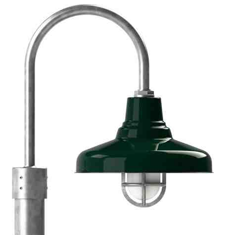 """14"""" Union LED, 350-Porcelain Green, Single Post Mount, 975-Galvanized, Smooth Direct Burial Pole, 975-Galvanized, TGG-Heavy Duty Cast Guard, 975-Galvanized, FST-Frosted Glass"""