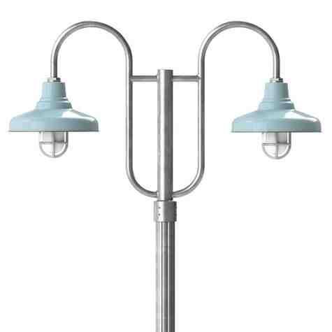 "14"" Union LED, 765-Porcelain Delphite, Double Decorative Post Mount, 975-Galvanized, Fluted Direct Burial Pole, 975-Galvanized, TGG-Heavy Duty Cast Guard, 975-Galvanized, FST-Frosted Glass Guard"